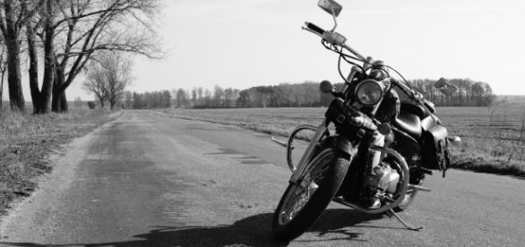 Black & white motorcycle photo