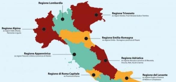 Come sarebbe l'Italia dopo riforma delle Regioni