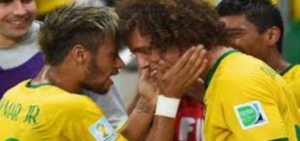 neymar e david luiz juntos na seleçao brasileira