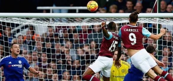 Andy Carroll scored West Ham's 79th minute winner