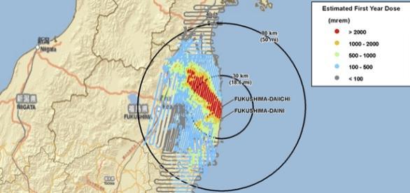 Mapa de la catástrofe de Fukushima