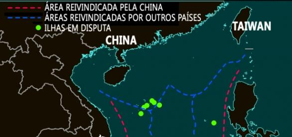 MAR DO SUL DA CHINA E ILHAS EM DISPUTA.