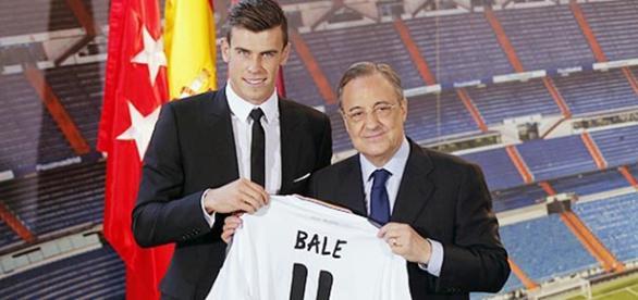 Bale y Florentino en la presentación del primero