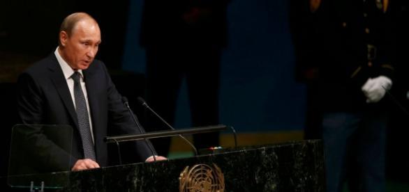Vladimir Putin durante il discorso all'ONU
