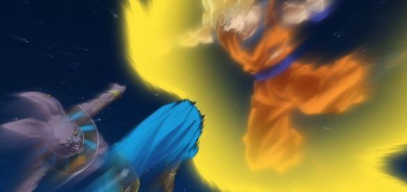 Goku y Bills en los ultimos momentos de la batalla