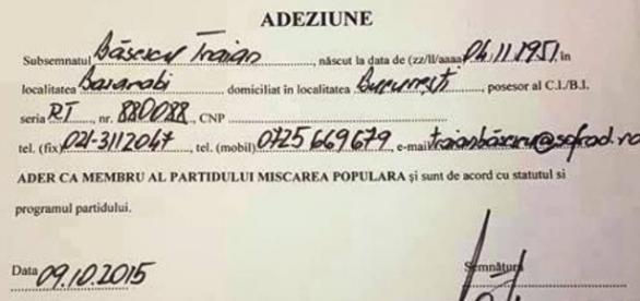 Aceasta este adeziunea cu telefonul lui Basescu
