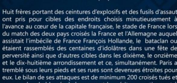 Comunicado Estado Islámico de los ataques de París