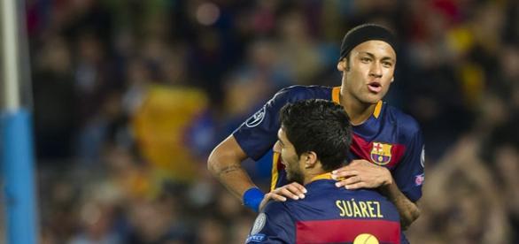 Neymar y Suárez celebrando un gol esta temporada