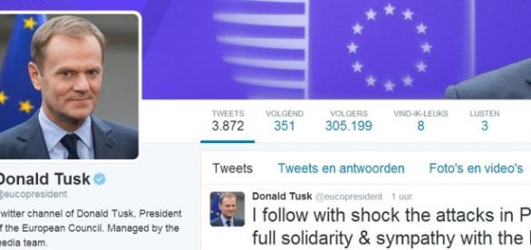 Donald Tusk zszokowany - Twitter, zrzut z ekranu