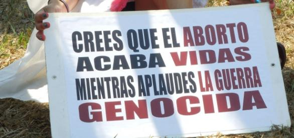 Pancarta en favor del aborto libre