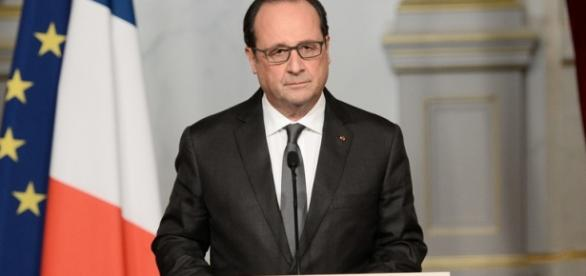 Francois Hollande speaking this morning