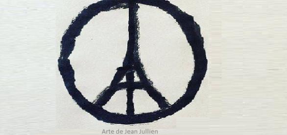 "Símbolo ""Peace for Paris"" do artista Jean Jullien."