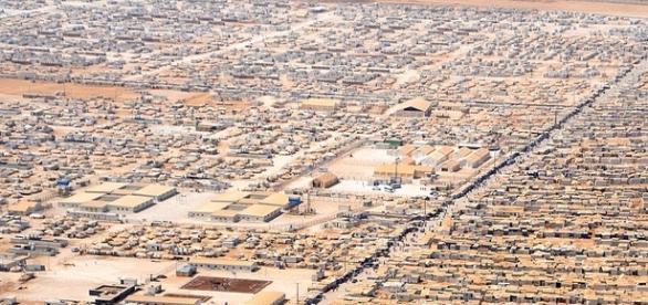 Vista aérea del campo de refugiados de Zaatari