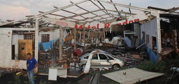 Marechal ficou destruída pelo vendaval.