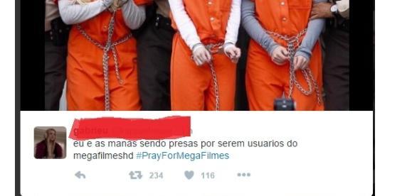 #PrayForMegaFilmes/Reprodução Twitter.