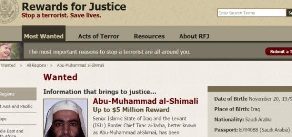 Site do governo americano Reward for Justice.