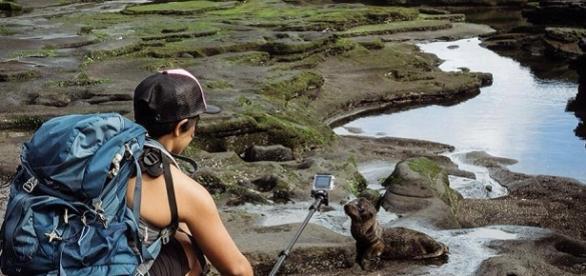 Turista en las Islas Galápagos
