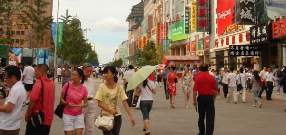 Calle Wangfujing en Pekin (China)