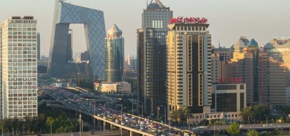 Entardecer em Beijing. Modernidade.