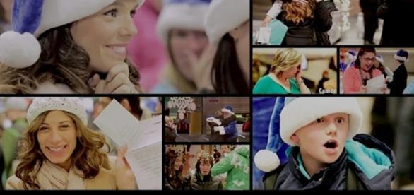 Momentos do vídeo da campanha de natal