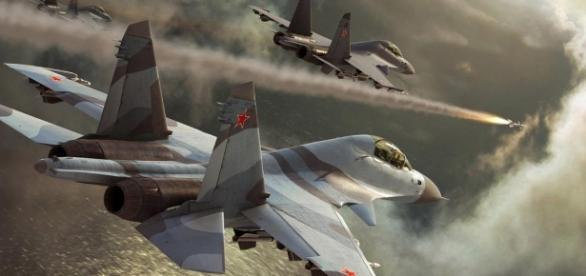 Aerei da guerra della flotta russa in attacco