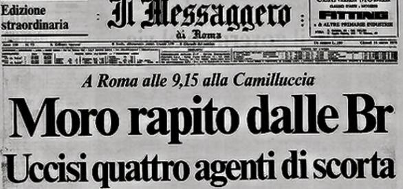 La prima pagina de Il Messaggero del 1978