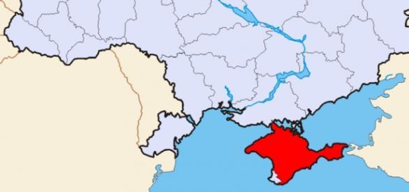 Região da Crimeia (em vermelho) fica sem energia.