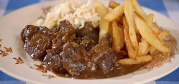 1. Delicious stew with french fries.