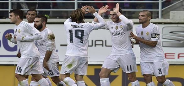 El Real Madrid celebra un gol esta temproada