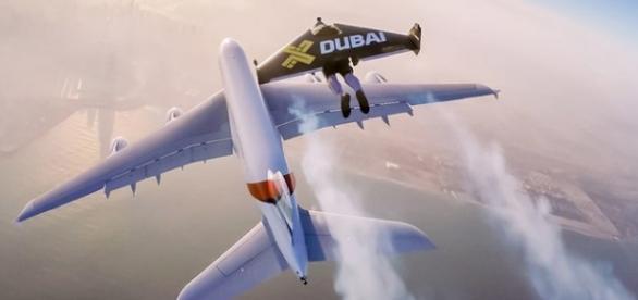 Jetmen acompanha o gigante A380 da Emirates.