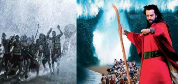 Deus abre o mar vermelho através de Moisés
