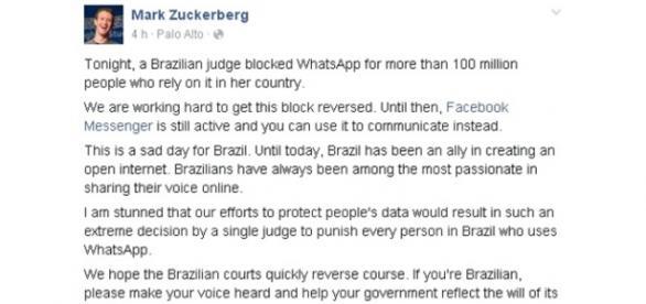 WhatsApp é bloqueado no país (Divulgação-Facebook)