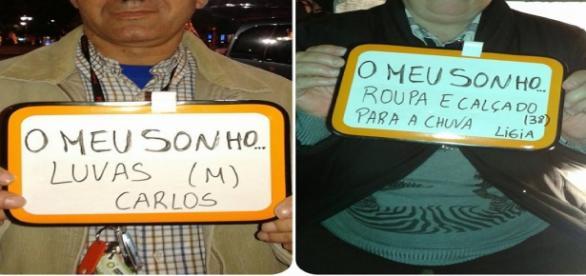 Dois dos sem-abrigos que pediram o seu desejos.