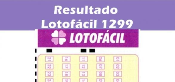 Resultado do jogo Lotofácil 1299