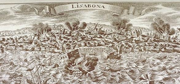 Imagem que retrata a catástrofe em Lisboa