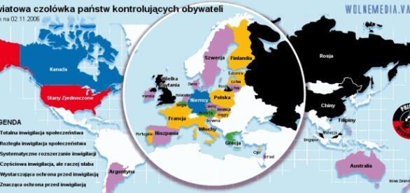 Mapa inwigilacji na świecie z 2006 roku