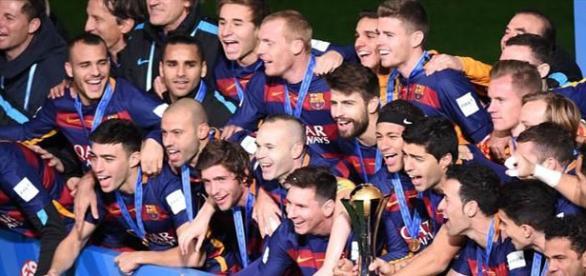El Barça, celebrando el Mundial de clubes