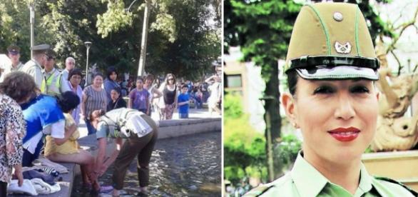 A policial chilena Angela Molina socorre uma idosa