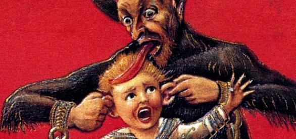 Representación del Krampus secuestrando a un niño