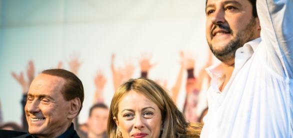 Salvini, Berlusconi e Meloni nel centrodestra.
