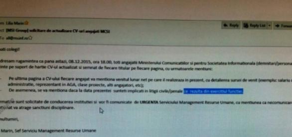 Documentul prezentat de stiripesurse.ro