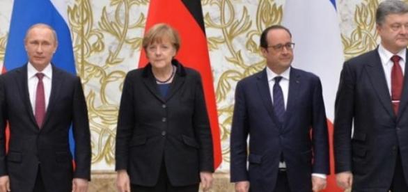 Putin, Merkel, Hollande and Poroshenko in Minsk