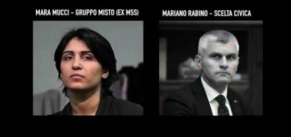 Mara Mucci e Mariano Rabino nel video di Grillo