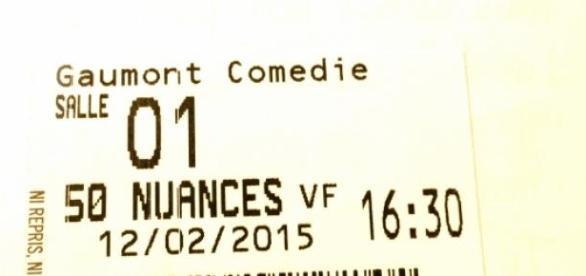 Ticket cinéma Cinquantes Nuances de Grey