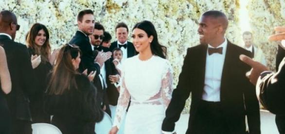 Kanye West und Kim Kardashian bei ihrer Hochzeit.