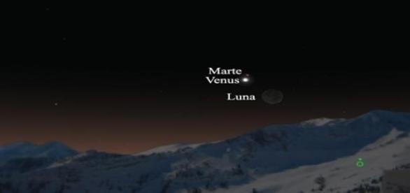 Triple conjunción entre Venus, Marte y la Luna