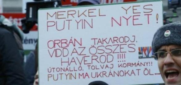 Merkel- da Putin-nu, protest Ungaria