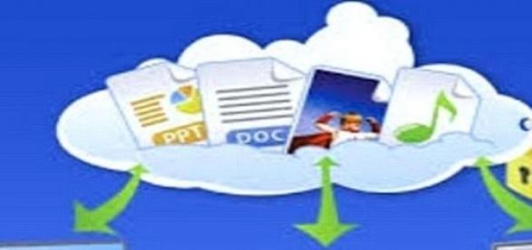 La nube: datos almacenados.