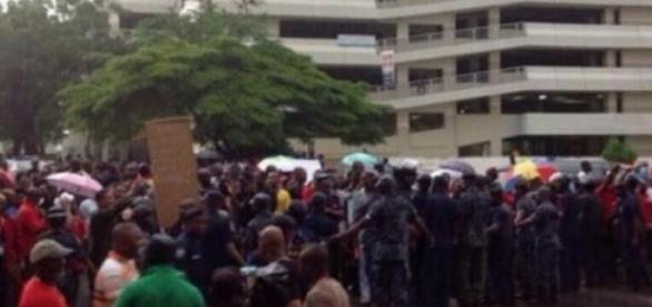 Les manifestations ont lieu à Accra.