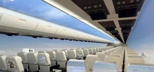 Diseño virtual de un avión  sin ventanas